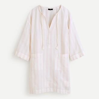 J.Crew Cotton-linen V-neck beach tunic in stripe