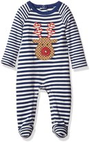 Mud Pie Baby Boys Fair Isle Striped Footed Sleeper Reindeer Applique, 0-3M