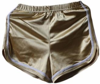 OKWIN Women's Shiny Workout Pants Sports Running Yoga Shorts Fitness Waistband Short Pants Blue