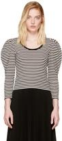 Marc Jacobs Black Striped Puff Sleeve T-shirt