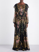 Alberta Ferretti Baroque and floral-print chiffon dress