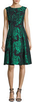 Aidan Mattox Sleeveless Embellished Floral Jacquard Cocktail Dress