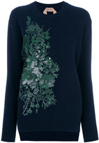 No.21 floral sequin embroidered sweatshirt