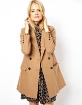 ASOS Long Line Double Breasted Coat - Camel