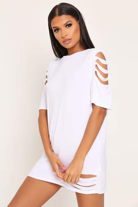 I SAW IT FIRST White Distressed T-Shirt Dress