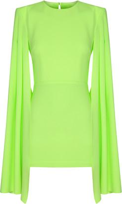 Alex Perry Tatum Satin-Creoe Caped Mini Dress