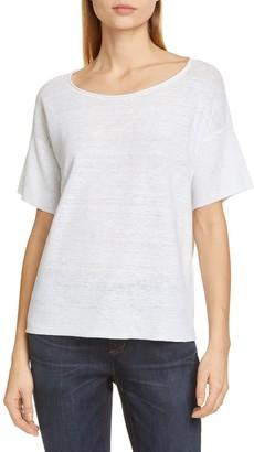 Eileen Fisher Boatneck Linen T-Shirt (Petite)
