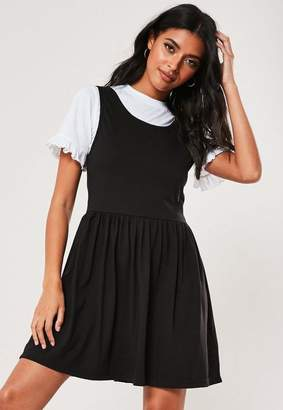 Missguided Black T Shirt Overlay Smock Dress