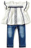 Jessica Simpson Baby Girls 12-24 Months Crinkle-Knit Top & Denim Jeans Set
