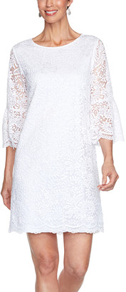 Ruby Rd. Women's Casual Dresses White - White Paisley Lace Bell-Sleeve Shift Dress - Women