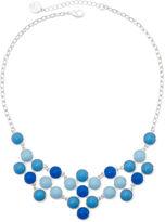 Liz Claiborne Silver-Tone Blue Bib Necklace