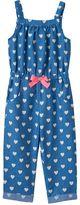 Little Lass Baby Girl Heart Chambray Jumpsuit