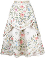 Eavis & Brown embroidered full midi skirt