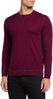 Neiman Marcus Men's Cashmere-Silk Sweater with Contrast Stitching