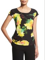 Escada Cap-Sleeve Carnation-Print Shell, Black