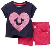 True Religion Sponge Heart Tee & Short 2-Piece Set (Baby Girls)
