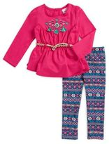 Little Lass Little Girl's Embroidered Belted Tunic and Patterned Leggings Set