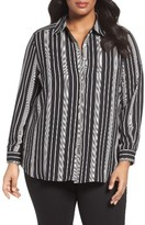 Foxcroft Plus Size Women's Stripe Shirt