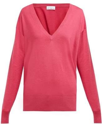 Raey V-neck Fine-knit Cashmere Sweater - Womens - Fuchsia