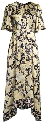 Rebecca Taylor Gold Leaf Floral Silk Midi Dress