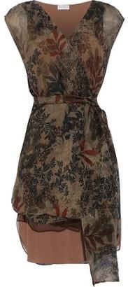 Brunello Cucinelli Floral-print Silk-georgette Wrap Top