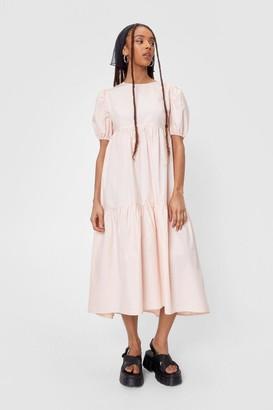 Nasty Gal Womens High Neck Puff Sleeve Tiered Midi Dress - Soft Pink