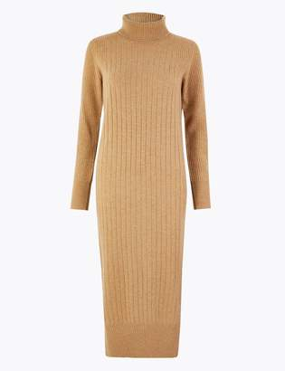 AutographMarks and Spencer Pure Cashmere Ribbed Knitted Dress