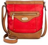 Bolo Women's Faux Leather Saddle Crossbody Handbag with Power Bank and Zipper Closure