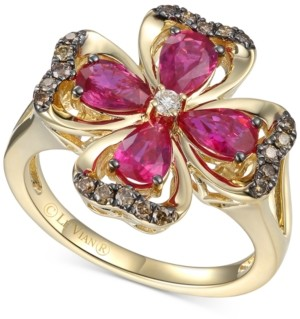 LeVian Le Vian Certified Passion Ruby (1-1/2 ct. t.w.) & Diamond (1/5 ct. t.w.) Flower Statement Ring in 14k Gold
