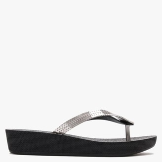 grendha Amore Glam Black Low Wedge Flip Flops