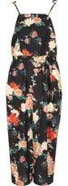 River Island Womens Black floral frill tie strap cami slip dress