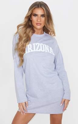 PrettyLittleThing Grey Arizona Slogan Long Sleeve T Shirt Dress