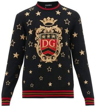 Dolce & Gabbana Star Embroidered Cashmere Blend Sweater - Mens - Black Multi
