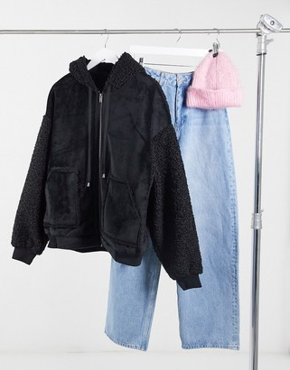 Urban Code Urbancode oversized faux suede borg mixed jacket in black