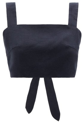 Casa Raki - Luli Tie-back Organic-linen Cropped Top - Navy