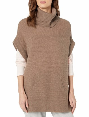 Minnie Rose Women's Statement in Ribbed Turtlneck with Kangaroo Pocket