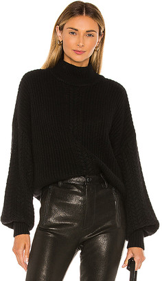 Autumn Cashmere Cable Sleeve Mock Sweater