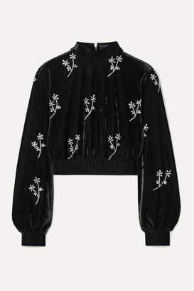 PatBO Cropped Crystal-embellished Velvet Turtleneck Top - Black