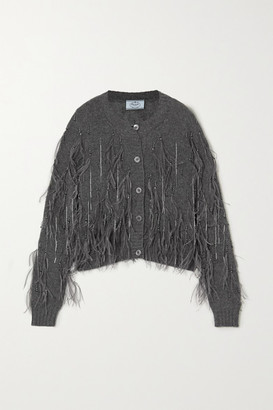 Prada Feather And Bead-embellished Cashmere Cardigan - Gray