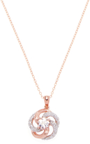 Rina Limor Fine Jewelry Women's Rose Tone Plated Sterling Silver, Morganite & 0.23 Total Ct. Diamond Floral Swirl Pendant Necklace