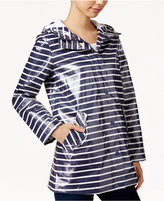 BCBGeneration Hooded Water-Resistant Striped Raincoat