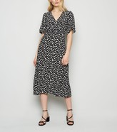 New Look Heart Print Puff Sleeve Midi Dress