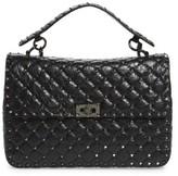 Valentino Rockstud Leather Top Handle Satchel - Black