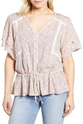 Wit & Wisdom Double Flounce Sleeve Blouse (Nordstrom Exclusive)