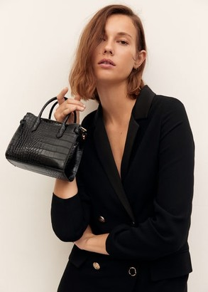 MANGO Croc-effect mini bag black - One size - Women