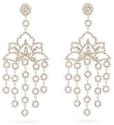 Etro Lotus Crystal-embellished Clip Earrings - Womens - Silver