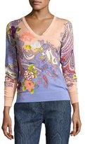 Etro Stampa Paisley V-Neck Sweater, Peach/Lilac