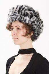 Maison Atia Trapper Hat - Faux Fur Black Cross Mink