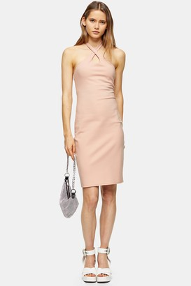 Topshop Womens Pink Cross Halter Neck Midi Dress - Pale Pink