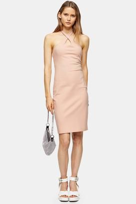 Topshop Womens Pink Cross Halter Neck Midi Dress - Pale Pink